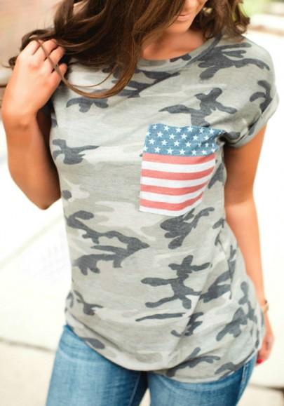 Armee-Grün Camouflage US Fahnen Druck Rundhals Kurzarm Beiläufige Ausgefallene T-Shirt Damen Tops Günstig