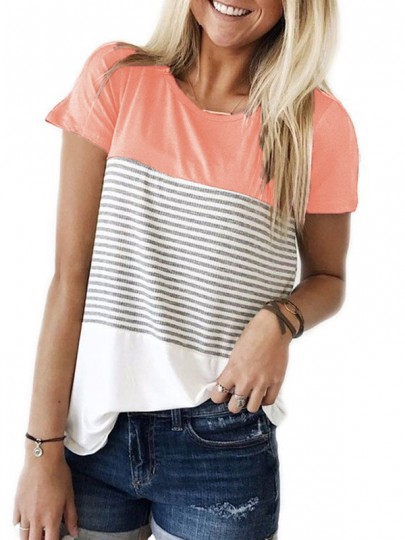 Pink Striped Print Round Neck Short Sleeve Casual T-Shirt