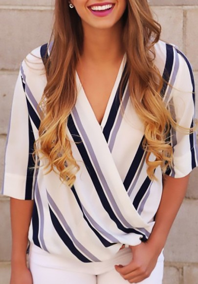 White Striped High-Low V-neck Elbow Sleeve Going out Casual T-Shirt