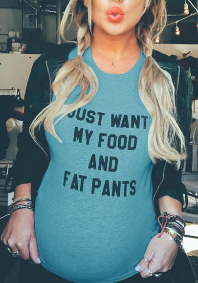 "Blue ""JUST WANT MY FOOD AND FAT PANTS"" Print Plus Size Maternity Casual T-Shirt"