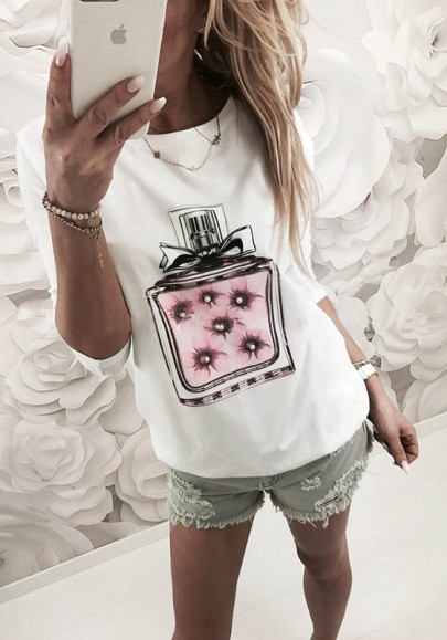 Weiß Flickwerk Drucken Rundhals Langarm Beiläufig T-Shirt