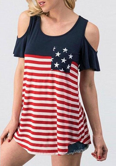 Red The Stars And Striped Print Cut Out Sleeve Independence Day Casual T-Shirt