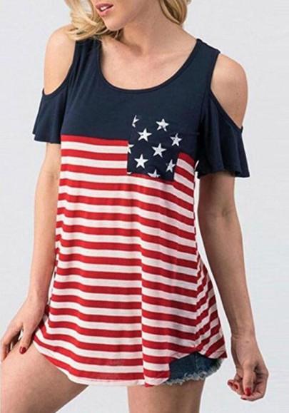 Rot Die Sterne und gestreiften Druck ausgeschnitten Ärmel Unabhängigkeitstag Beiläufig T-Shirt