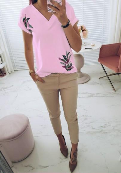 Rosa Blumendruck V-Ausschnitt Kurzarm Süß T-Shirt