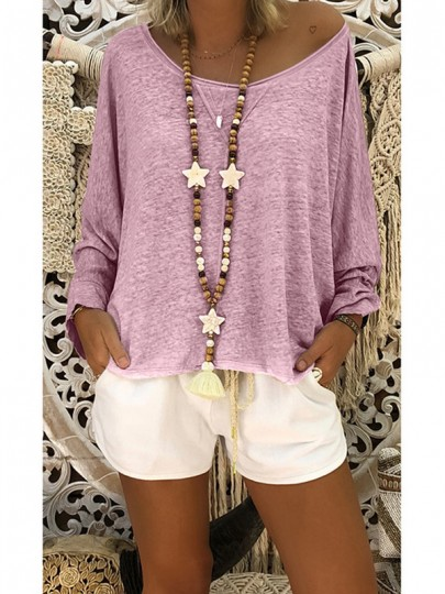 Pink Round Neck Long Sleeve Casual T-Shirt