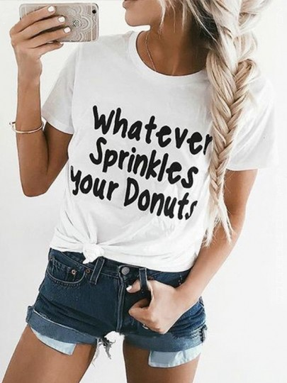 White Letter Print Short Sleeve Casual Outdoors Going out T-Shirt