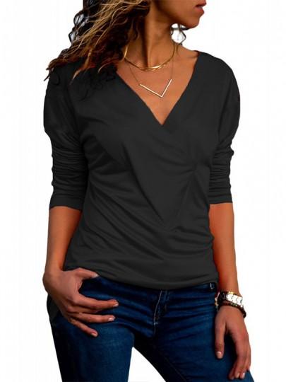 T-shirt croisé bowknot confortable mince manches longues col V décontracté mignon noir