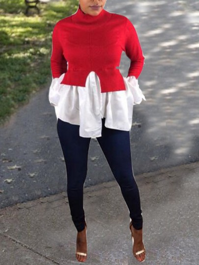 Red-White Patchwork False 2-in-1 Irregular Ruffle High Neck Casual T-shirt