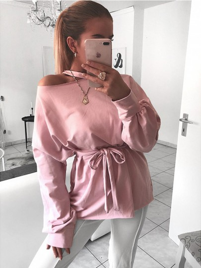 Pink Sashes Bow Long Sleeve Casual Sweet Going out T-Shirt
