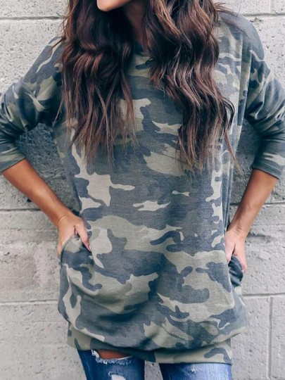 Army Green Camouflage Pockets Long Sleeve Oversized Casual Camo Sweatshirts T-Shirt