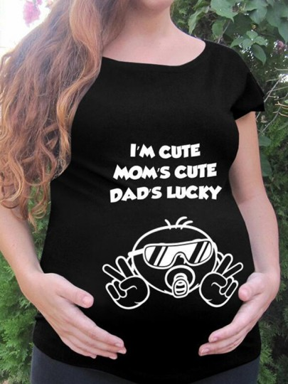 Black Monogram Print Round Neck Short Sleeve Maternity T-Shirt