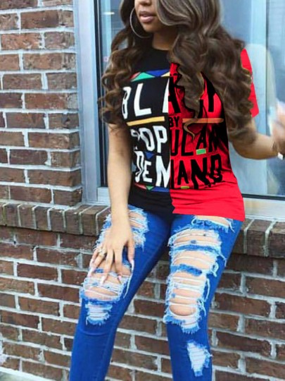 Red Monogram BLACK POPULAR DEMAND Print Going out Casual T-Shirt
