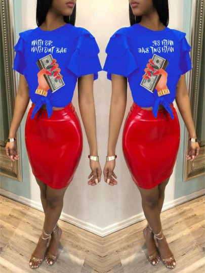 "Blue ""WITH OR WITH OTU BAE"" US Dollar Print Cascading Ruffle Knot Casual T-Shirt"