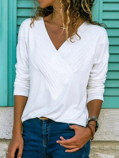 White Pleated V-neck Long Sleeve Fashion T-Shirt