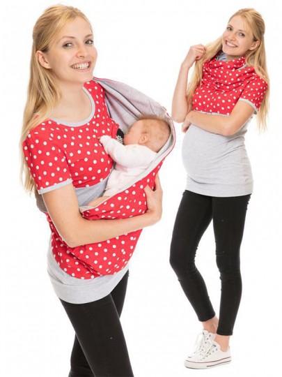 T-shirt à pois rouge irrégulier surdimensionné maternité gris clair