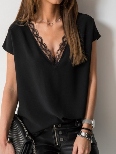 Black Patchwork Lace Cut Out V-neck Short Sleeve Elegant T-Shirt