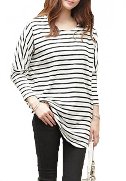 Grey striped bat long sleeve loose cotton t shirt t for Black and white striped long sleeve shirt women