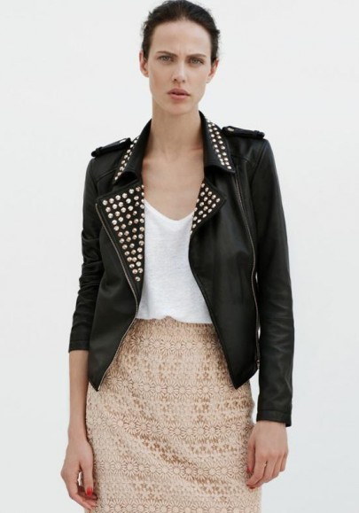 Black Rivet Zipper PU Leather Short Coat
