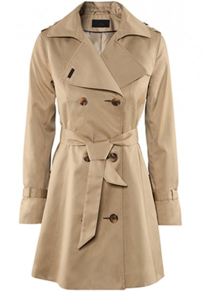 Beige Belt Double Breasted Chinlon Long Trench Coat