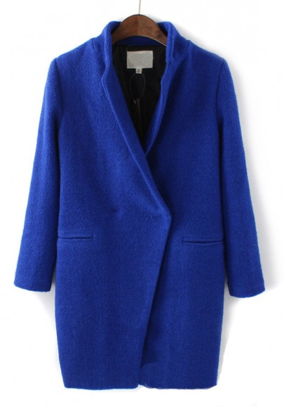 Sapphire Blue Plain V Neck Long Sleeve Wool Coat