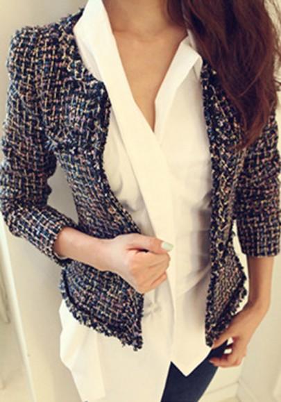 Navy Blue Plaid Golden Wire Elegant Tweed Preppy Jacket