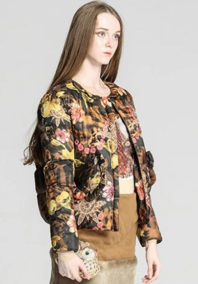 Brown Floral Print Peter Pan Collar Padded Coat