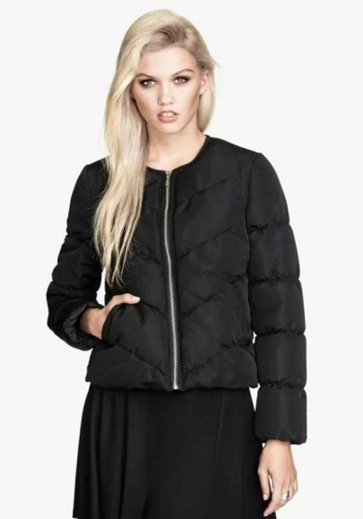 Black Plain Puff Sleeve Padded Coat