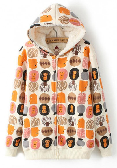 Beige Cartoon Print Hooded Padded Coat