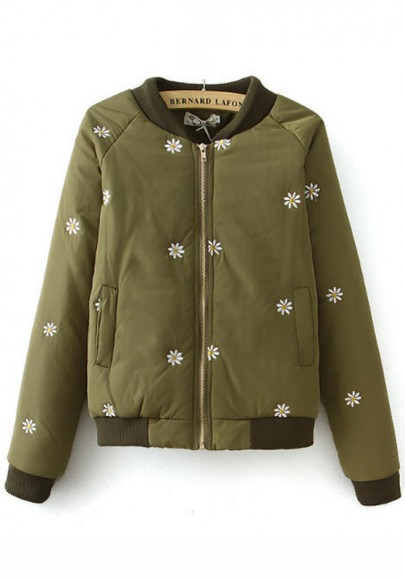 Army Green Floral Embroidery Padded Coat