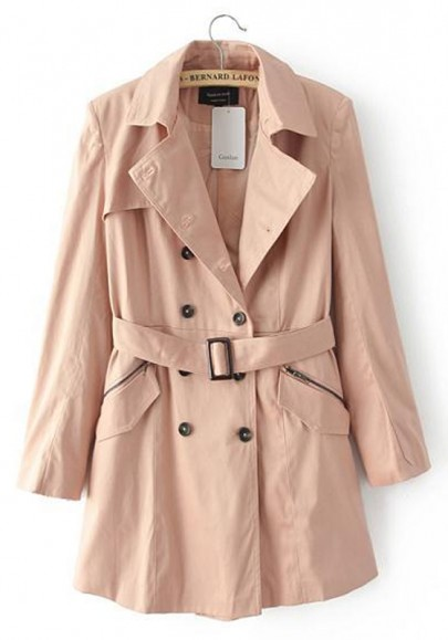 Khaki Plain Belt Long Sleeve Trench Coat