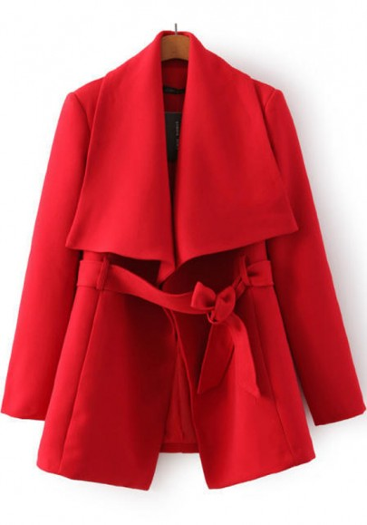 Red Plain Belt Trench Coat