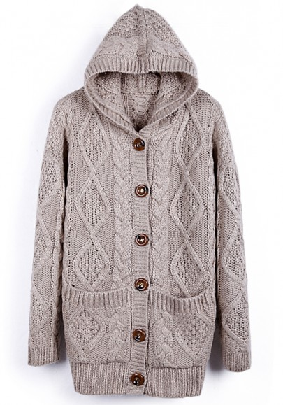 Beige Buttons Pockets Long Sleeve Thick Wool Coat