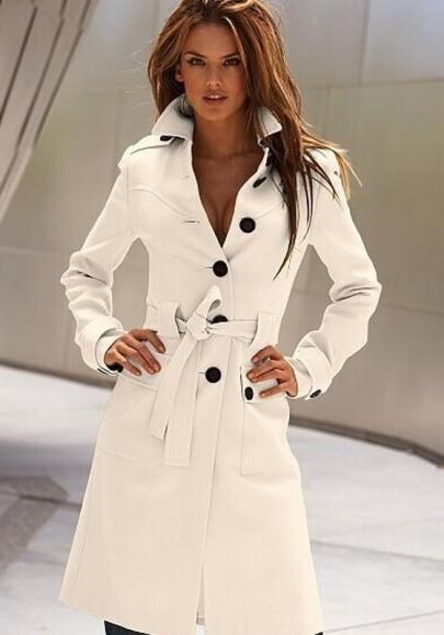 Weiß Taschen Knöpfen Damen Lang Beiläufige Trenchcoat Outwear Warm Herbst Winter Wollmantel mit Gürtel