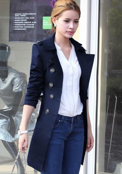 Trench-coat uni à double boutonnage épaulette bleu marine