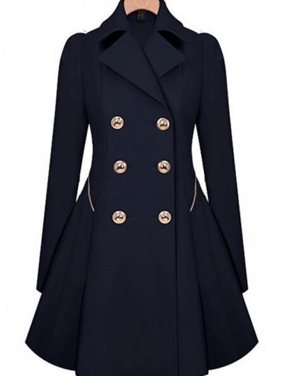 Dunkelblau Umlegekragen Doppelreiher Langarm Retro Peplum Herbst Ausgestellter Mantel Damen Trenchcoat