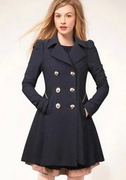 Manteau officier double boutonnage manches longues peplum trench-coat bleu marine femme