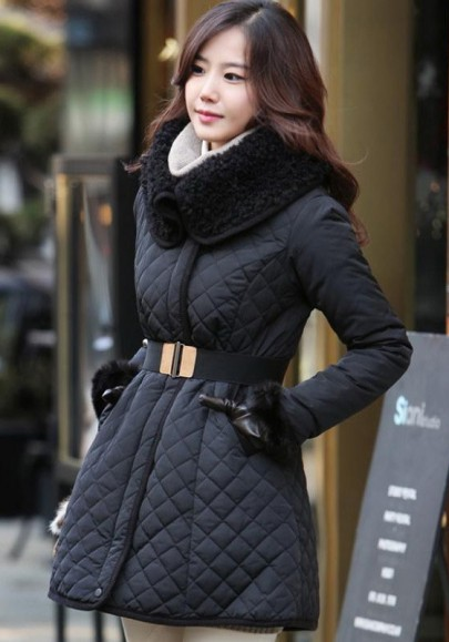 Black Plain Belt Diamond Plaid Fur Collar Padded Coat