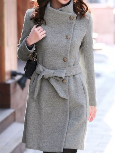 Grey Belt Single Breasted Wrap Tailored Fitted Cowl Funnel Neck High Collar Skater UK Wool Coat
