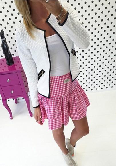 Vestes courtes plaid fermeture éclair poches col rond manches longues casual mode femme blanc