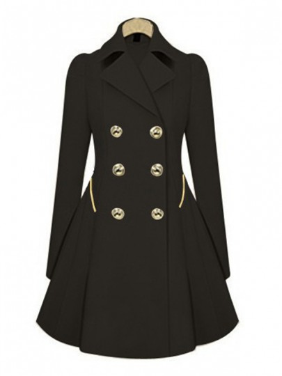 Black Plain Pockets Tailored Collar Double Breasted Trench Coat