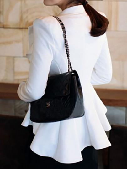 White Plain Swallowtail Double-deck Peplum Lapel Sharp Shoulder Pad Fashion Daily Blazer