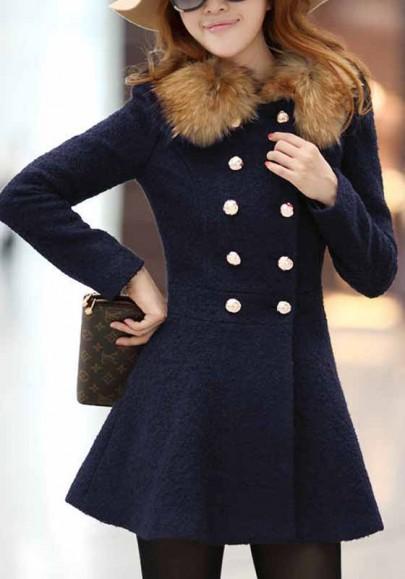 Manteau en laine patineuse double boutonnage fausse fourrure col manches longues élégant femme bleu marine