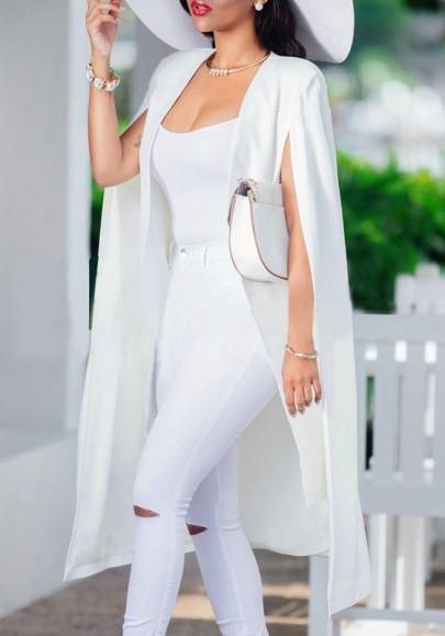 White Plain Irregular Sleeveless Casual Cape Fashion Poncho Jacket Suits Coat