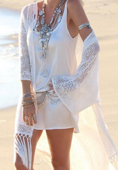 White Floral Lace Tassel Kimono Sleeve Bohemian Beach Kimono