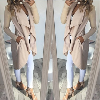 Khaki Unregelmäßig Turndown Kragen Langarm Beiläufige Mantel Tops Oberteile Damen Mode