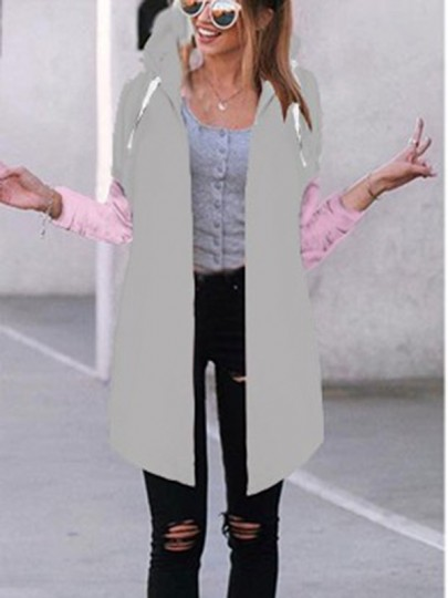Abrigo liso cordón manga larga con capucha casuales gris