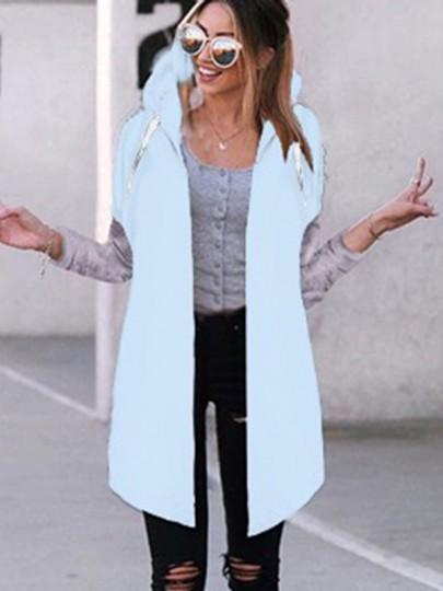 Blue Plain Drawstring Long Sleeve Hooded Casual Coat