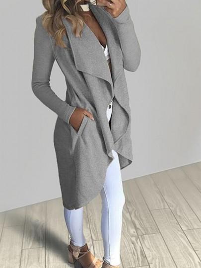 Manteau poches collier de recouvrement irrégulier manches longues décontracté gris
