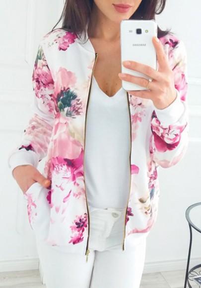 Rosa Blumen Reißverschluss Taschen Rundhals Langarm Lässige Blouson Bomber Jacke Fliegerjacke Kurz Damen Mode