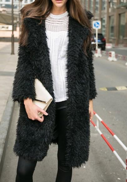 Manteau long polaire fourrure manches longues hiver mode femme cardigan noir